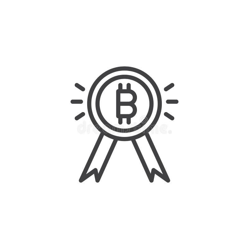 Symbol för Bitcoin medaljöversikt stock illustrationer