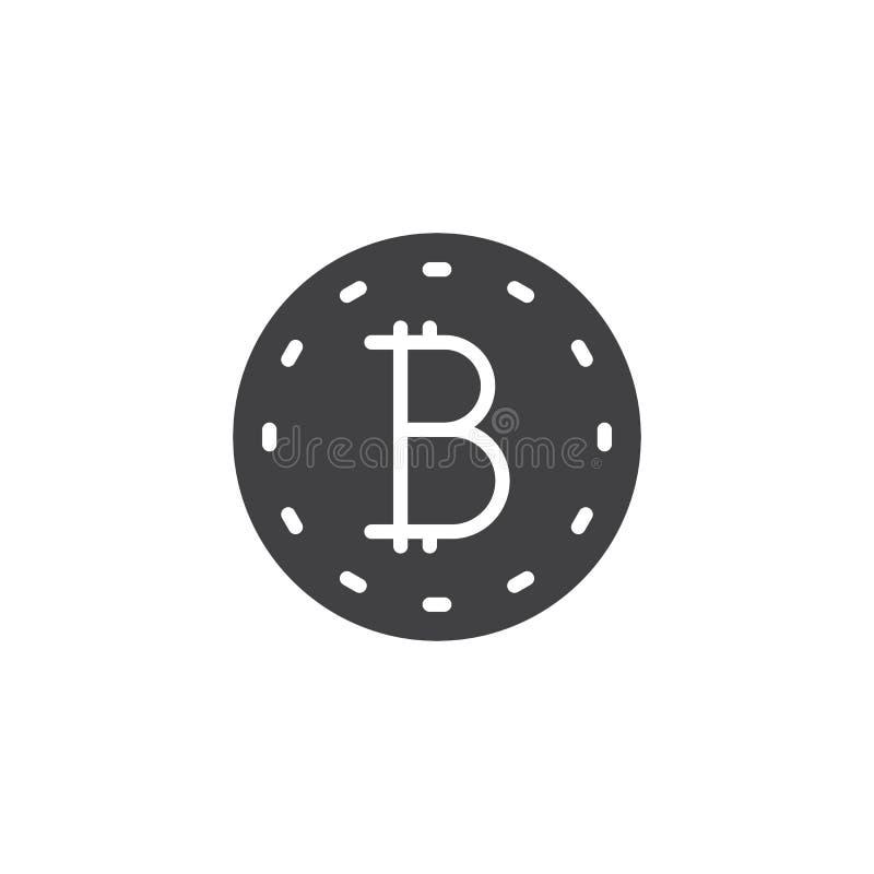 Symbol för Bitcoin myntvektor royaltyfri illustrationer