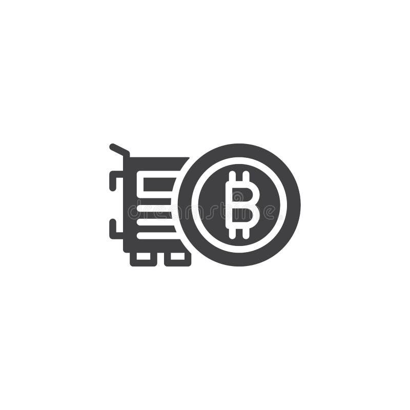 Symbol för Bitcoin och VGA kortvektor vektor illustrationer