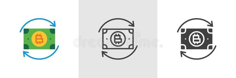 Symbol för Bitcoin pengarutbyte stock illustrationer