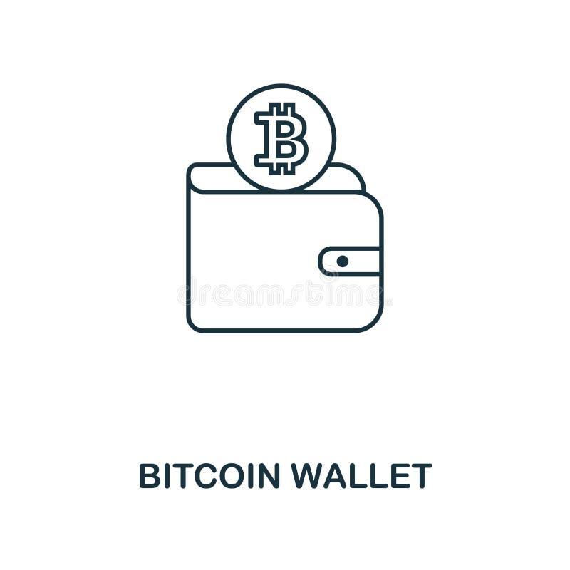 Symbol för Bitcoin plånboköversikt Monokrom stildesign från crypto valutasymbolssamling Ui Perfekt enkel pictogramoutl för PIXEL royaltyfri illustrationer