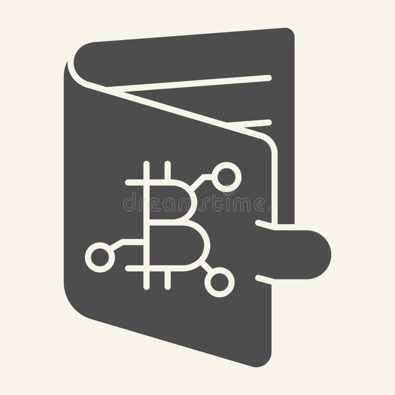 Symbol för Bitcoin plånbokheltäckande Illustration för Bitcoin handväskavektor som isoleras på vit Design för Cryptocurrency skår stock illustrationer