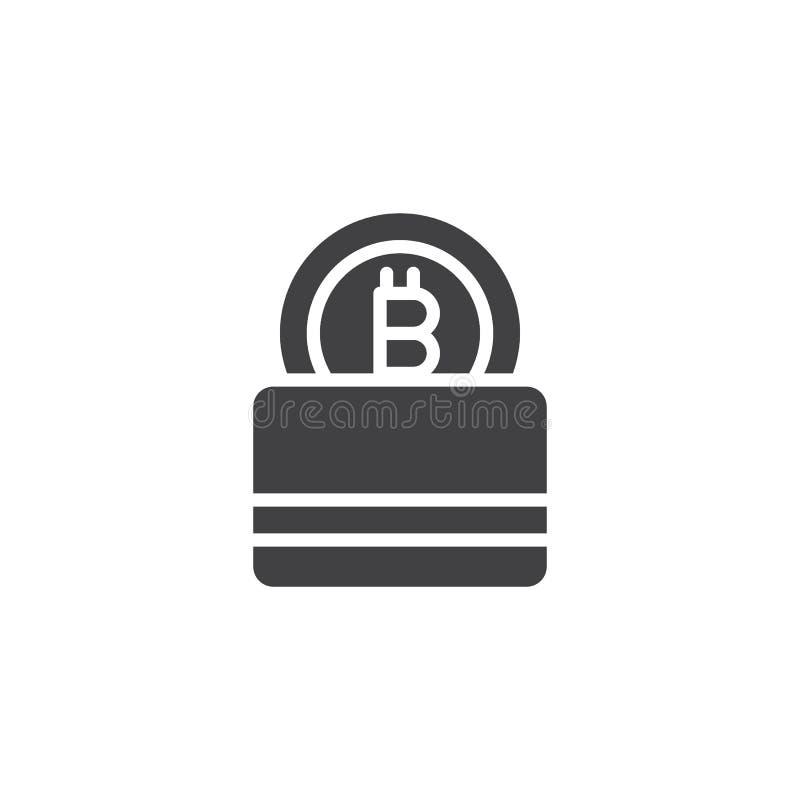 Symbol för Bitcoin plånbokvektor stock illustrationer
