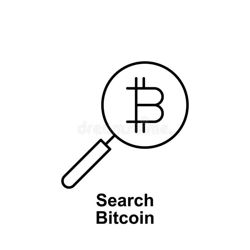 Symbol för Bitcoin sökandeöversikt Beståndsdel av bitcoinillustrationsymboler Tecknet och symboler kan användas för rengöringsduk royaltyfri illustrationer