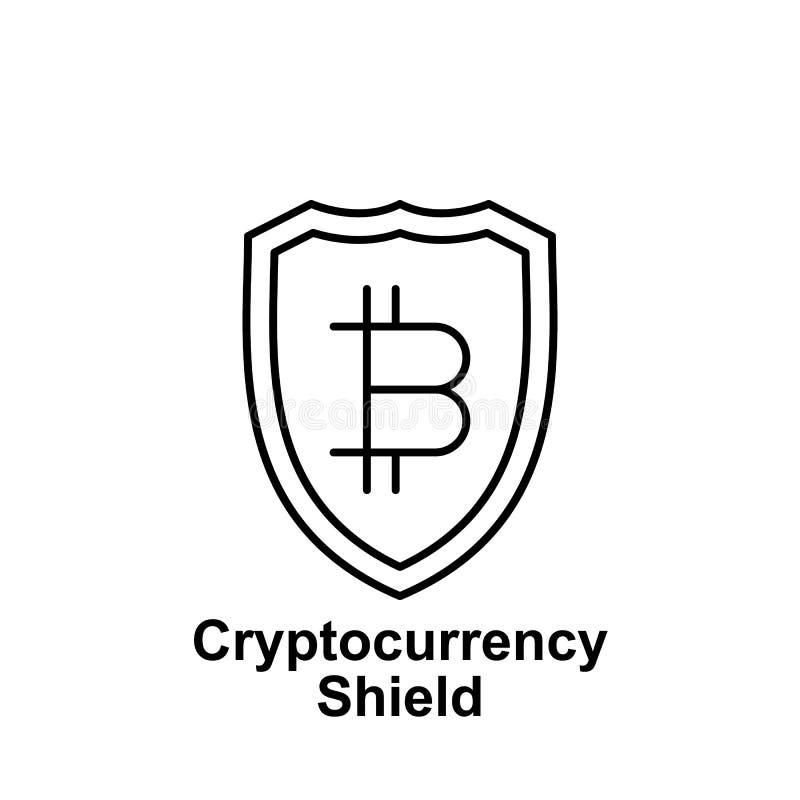 Symbol för Bitcoin sköldöversikt Beståndsdel av bitcoinillustrationsymboler Tecknet och symboler kan användas för rengöringsduken stock illustrationer