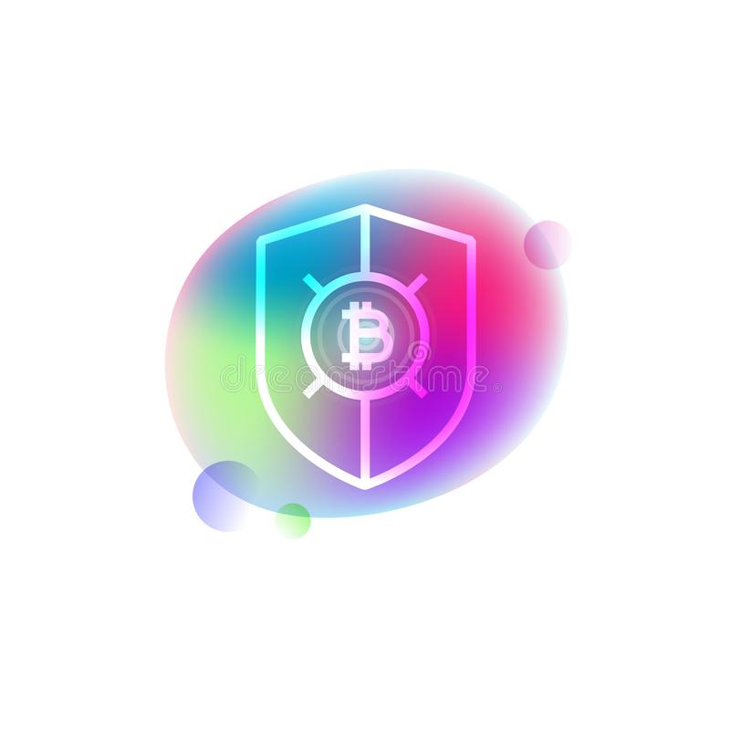 Symbol för Bitcoin sköldneon stock illustrationer