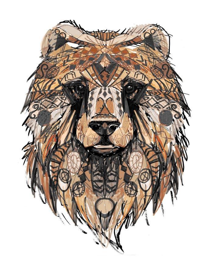 symbol för björnhuvudmodell stock illustrationer