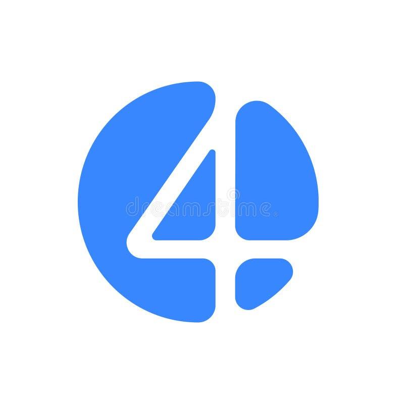 Symbol för blått för abstrakt begrepp för nummerstilsortslogo modern av nummer 4 fyra för stilsortslogo vektor illustrationer