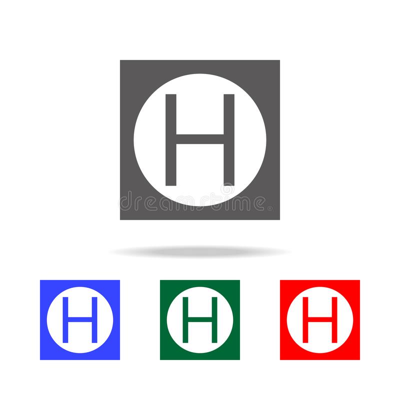 Symbol för block för helikopterlandningtecken Beståndsdelar i mång- kulöra symboler för mobila begrepps- och rengöringsdukapps Sy vektor illustrationer