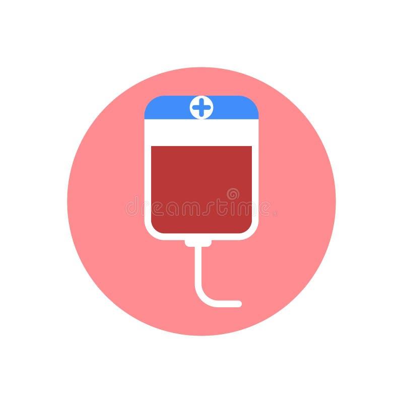 Symbol för blodtransfusionplastpåselägenhet Rund färgrik knapp, runt vektortecken, logoillustration vektor illustrationer