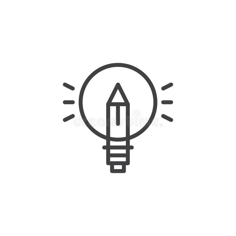 Symbol för blyertspennalightbulböversikt royaltyfri illustrationer