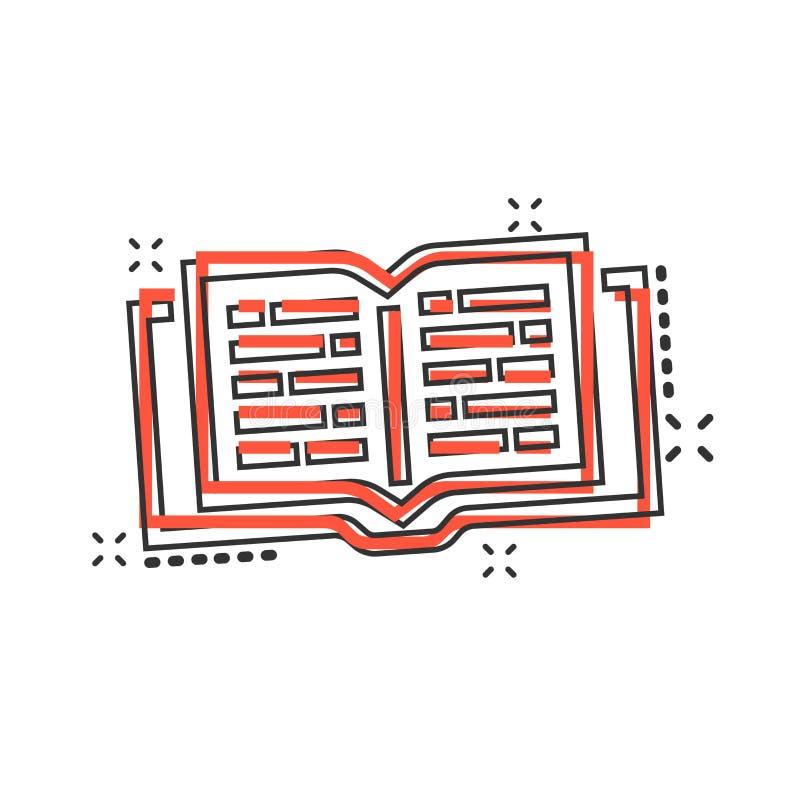 Symbol för bok för vektortecknad film öppen i komisk stil Begrepp för textbok royaltyfri illustrationer