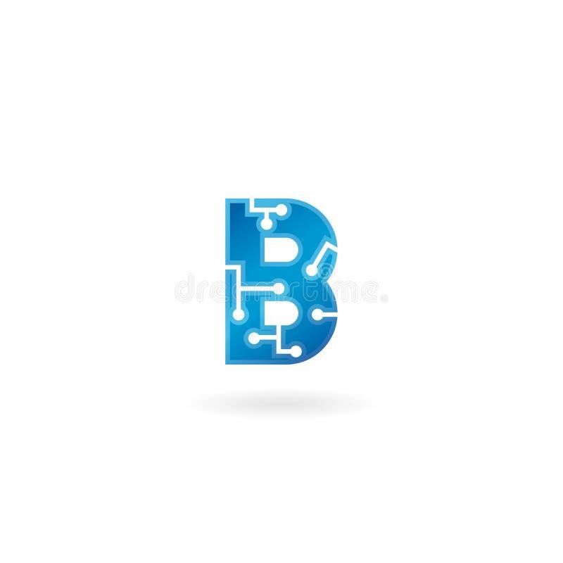 Symbol för bokstav B Logoen, datoren och data för teknologi gällde den smarta affären, högteknologiskt och innovativt som var ele royaltyfri illustrationer