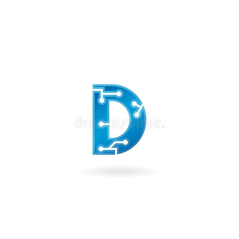 Symbol för bokstav D Logoen, datoren och data för teknologi gällde den smarta affären, högteknologiskt och innovativt som var ele stock illustrationer
