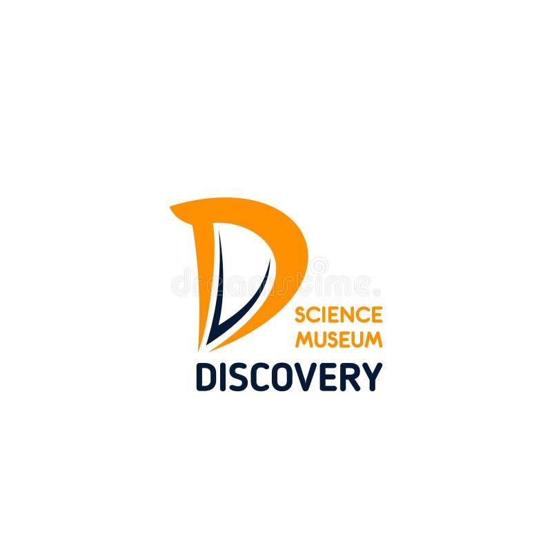 Symbol för bokstav D för vektor för upptäcktvetenskapsmuseum vektor illustrationer