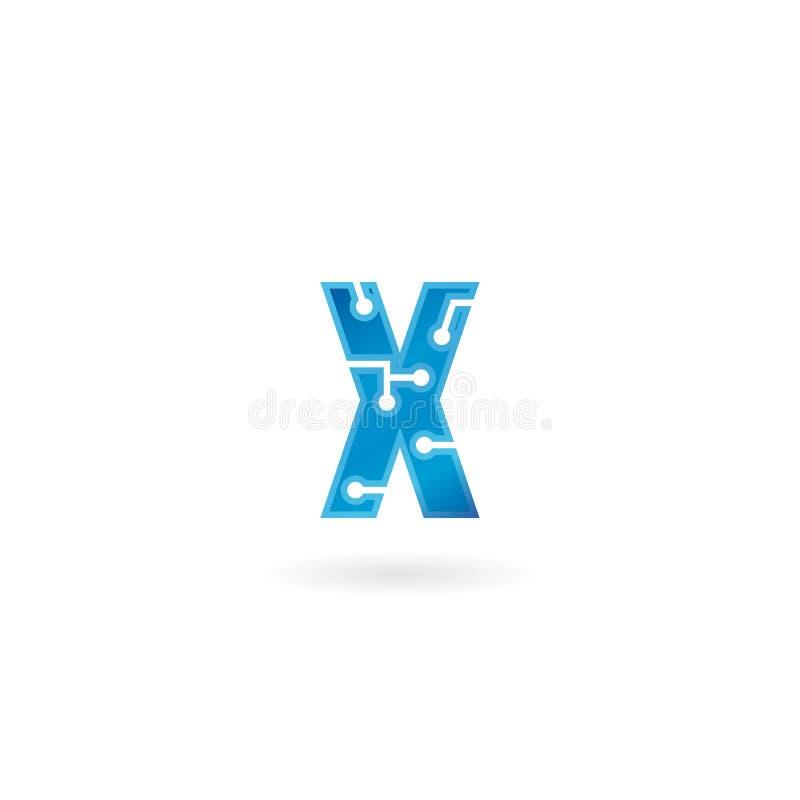 Symbol för bokstav X Logoen, datoren och data för teknologi gällde den smarta affären, högteknologiskt och innovativt som var ele royaltyfri illustrationer