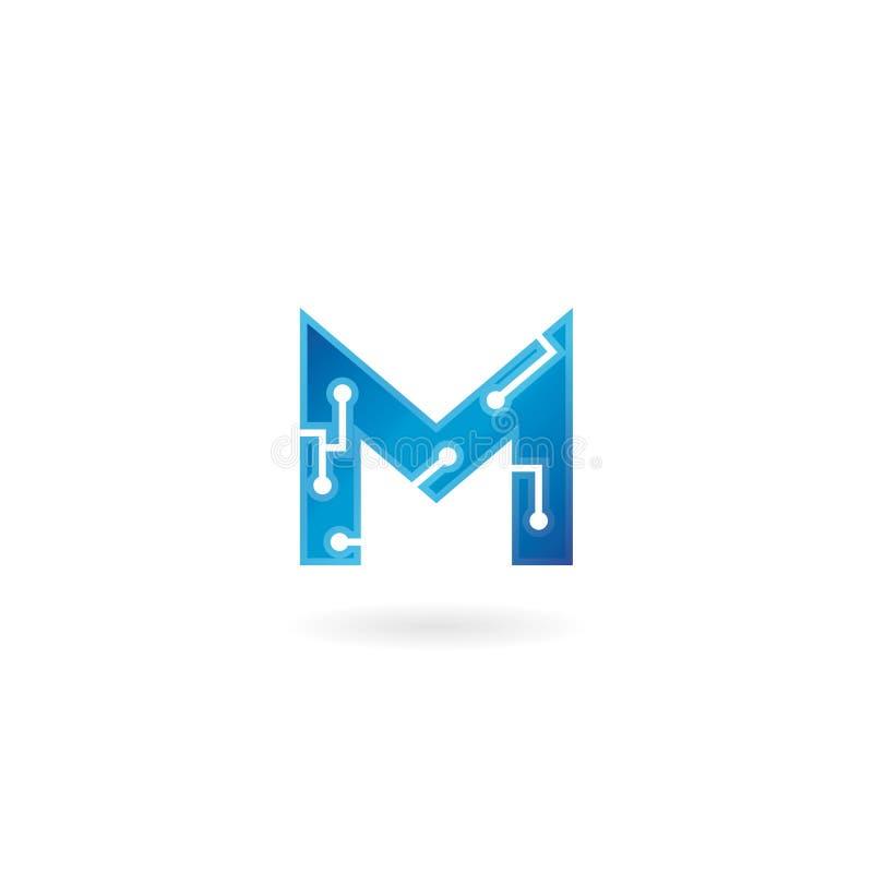 Symbol för bokstav M Logoen, datoren och data för teknologi gällde den smarta affären, högteknologiskt och innovativt som var ele royaltyfri illustrationer
