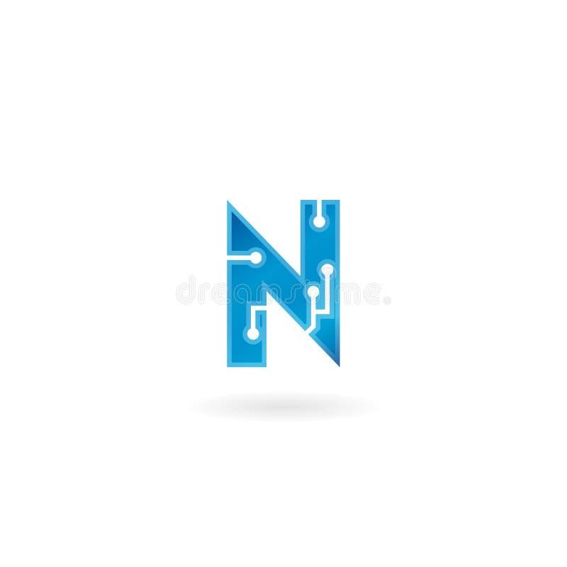 Symbol för bokstav N Logoen, datoren och data för teknologi gällde den smarta affären, högteknologiskt och innovativt som var ele vektor illustrationer