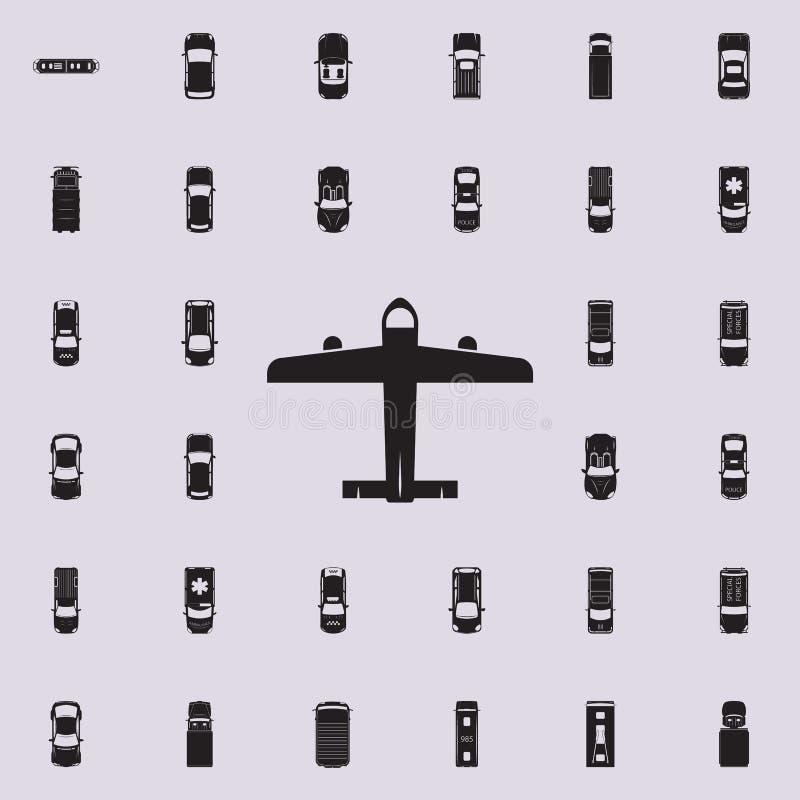 symbol för borgerligt flygplan Transportera sikten från den universella uppsättningen för ovannämnda symboler för rengöringsduk o royaltyfri illustrationer