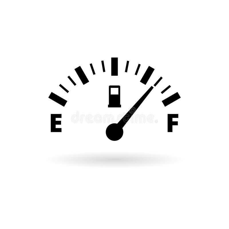 Symbol för bränslemått, full gasbehållare stock illustrationer
