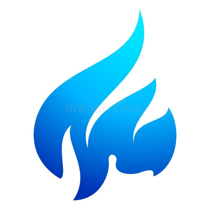 Symbol för brandflammablått vektor illustrationer
