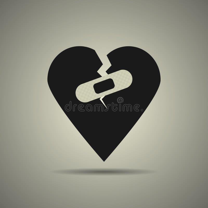 Symbol för bruten hjärta med lappen royaltyfri illustrationer