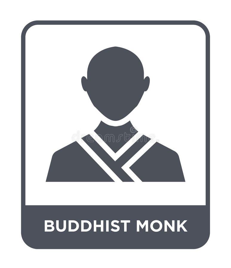 symbol för buddistisk munk i moderiktig designstil symbol för buddistisk munk som isoleras på vit bakgrund enkel vektorsymbol för vektor illustrationer
