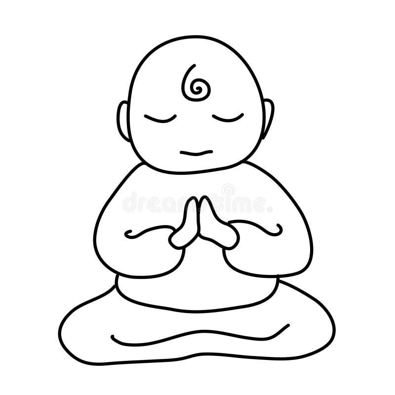 Symbol för buddistisk munk Tecknad filmillustration av vektorsymbolen för buddistisk munk för rengöringsdukdesign stock illustrationer
