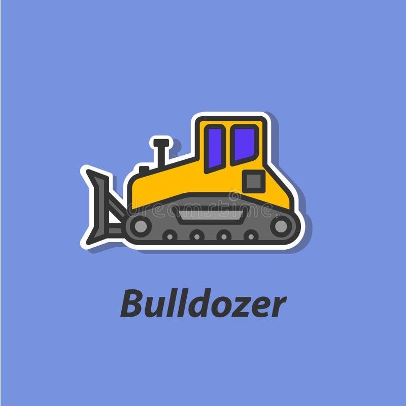 Symbol för bulldozerfärglägenhet royaltyfri illustrationer