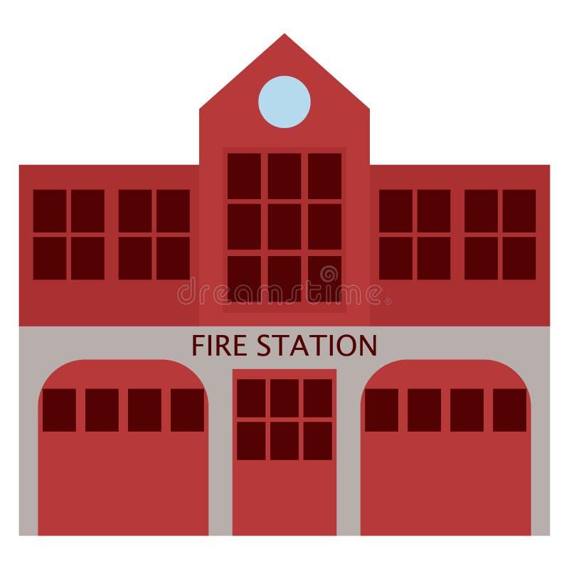 Symbol för byggnad för avdelning för brandstation, vektorillustration vektor illustrationer