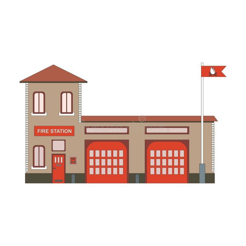 Symbol för byggnad för brandstation Plan illustration för vektor stock illustrationer
