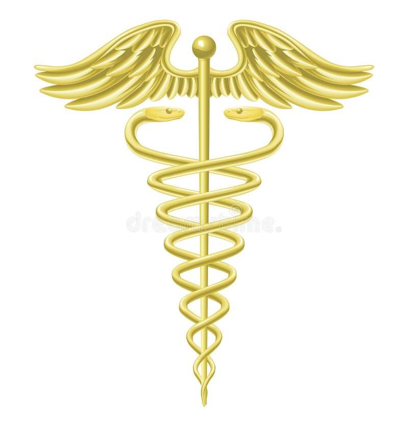 symbol för caduceusguldläkarundersökning royaltyfri illustrationer