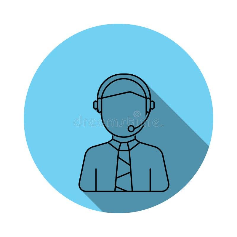 Symbol för call centermanavatar Beståndsdelar av avataren i lägenhetblått färgade symbolen Högvärdig kvalitets- symbol för grafis stock illustrationer