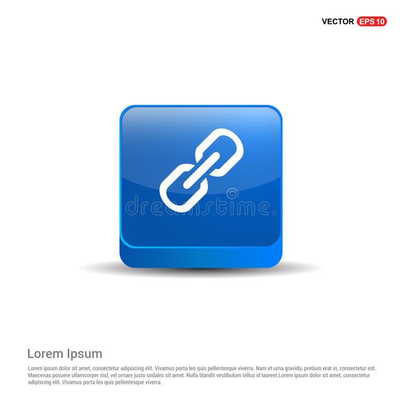 Symbol för Chain sammanlänkning - knapp för blått 3d royaltyfri illustrationer