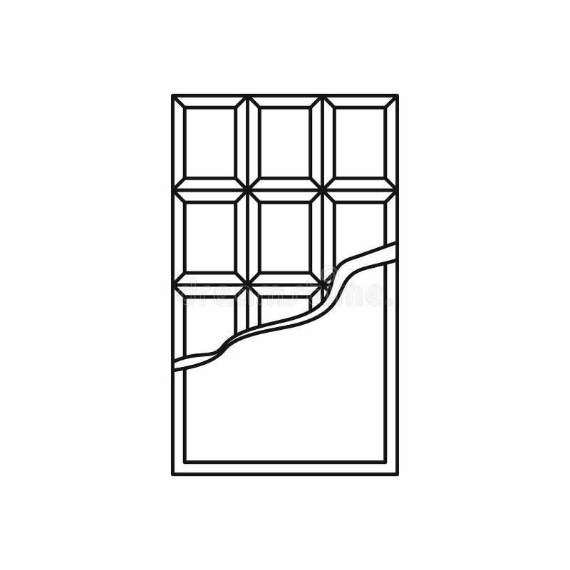 Symbol för chokladstång, översiktsstil stock illustrationer