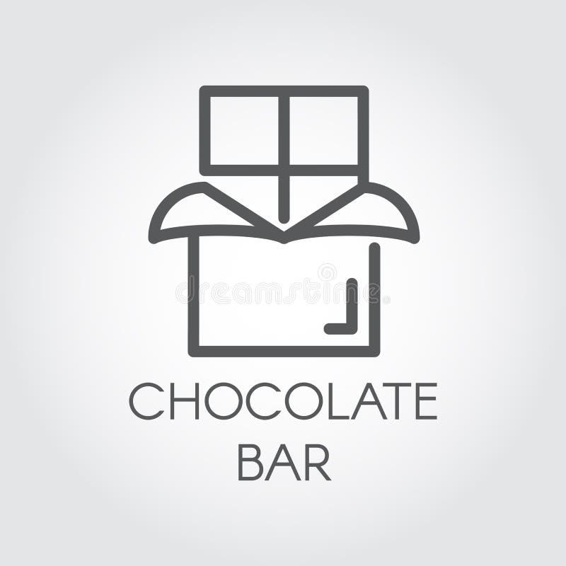 Symbol för chokladstång Efterrättmatlinje logo Söt mellanmåldiagrampictograph Kakaoprodukt i översiktsdesign vektor vektor illustrationer