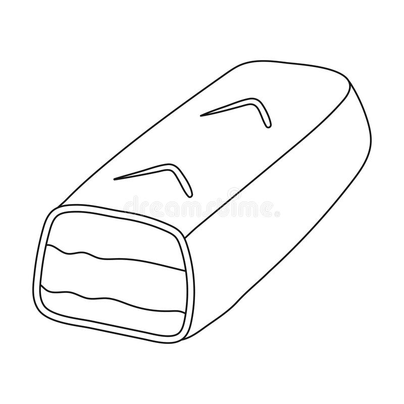 Symbol för chokladstång i översiktsstil som isoleras på vit bakgrund Illustration för vektor för materiel för chokladefterrättsym vektor illustrationer