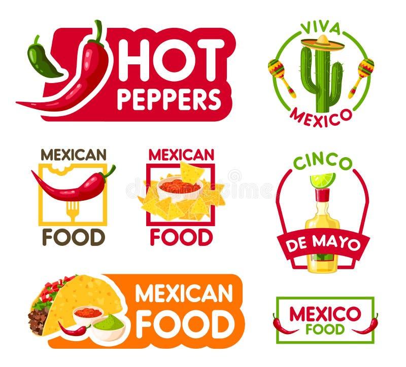 Symbol för för Cinco de Mayo mexikansk feriemat och drink vektor illustrationer