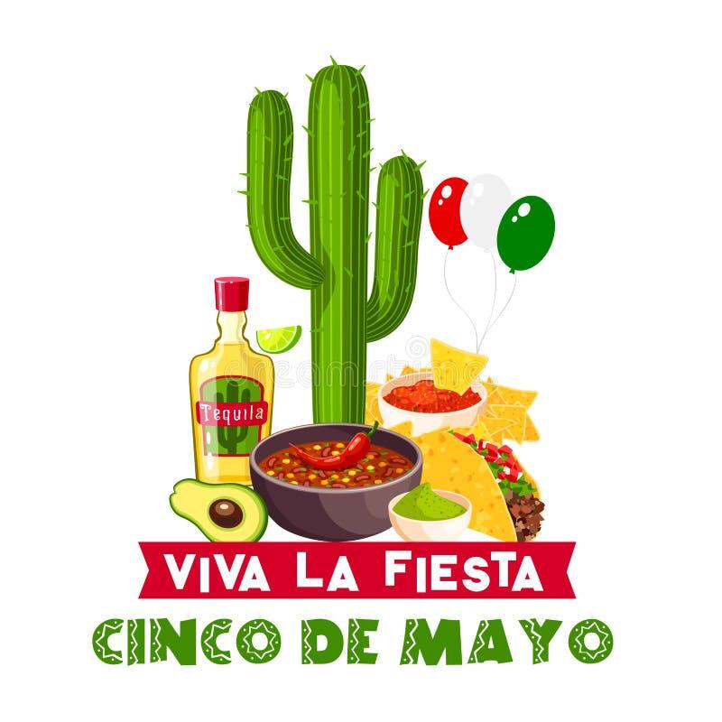 Symbol för för Cinco de Mayo mexikansk fiestamat och drink vektor illustrationer