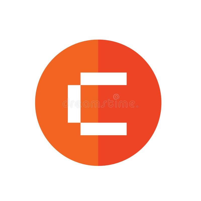 Symbol för cirkelbokstav C, orange färg som isoleras på vit bakgrund vektor illustrationer