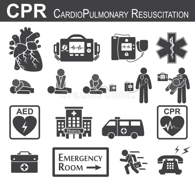 Symbol för CPR (Cardiopulmonary återuppväckande) royaltyfri illustrationer