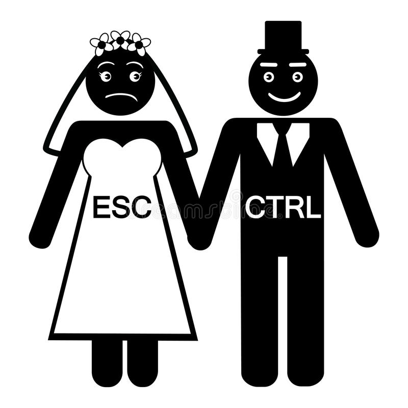 Symbol för CTRL för brudESC-brudgum royaltyfri illustrationer