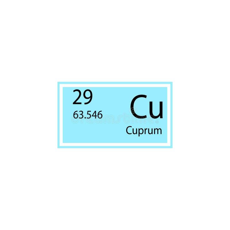 Symbol för cuprum för beståndsdel för periodisk tabell Beståndsdel av den kemiska teckensymbolen Högvärdig kvalitets- symbol för  stock illustrationer