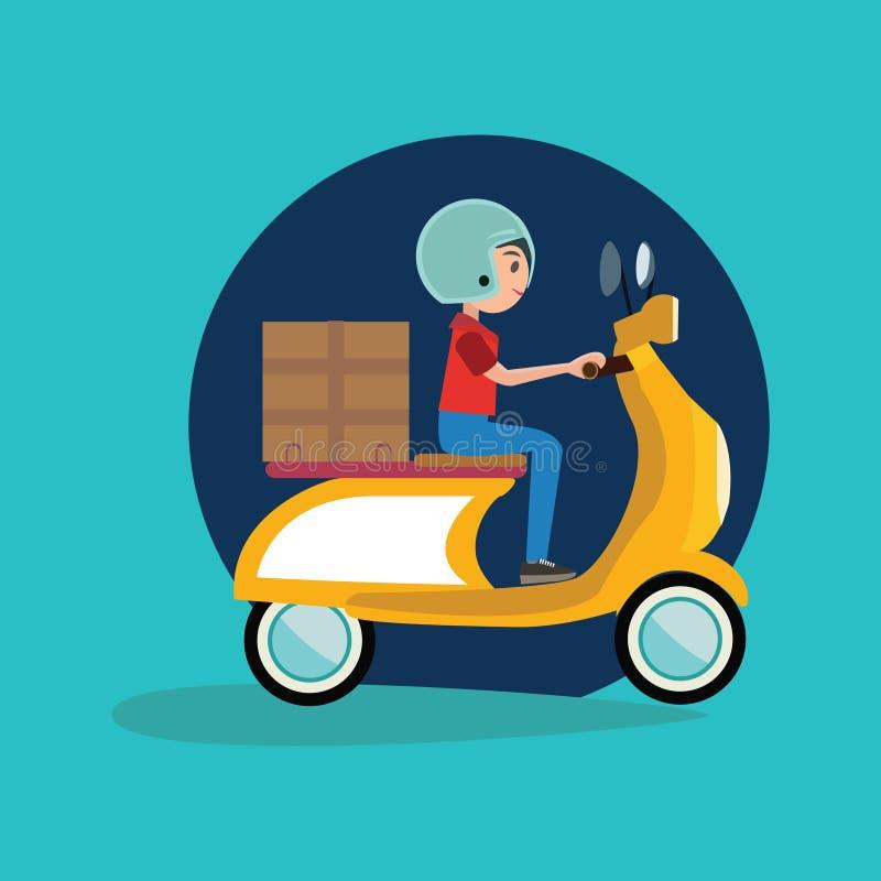 Symbol för cykel för motor för ridning för leveranspojke vektor illustrationer