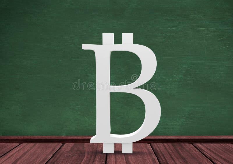 symbol för 3D Bitcoin på golv i rum med utbildningssvart tavla royaltyfri illustrationer