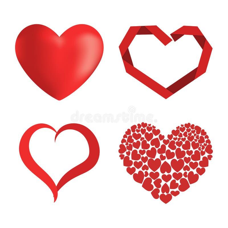 Symbol för dag för valentin för förälskelse för vektor för hjärta för Differents stil röd symbol isolerat och romantiskt gifta si vektor illustrationer