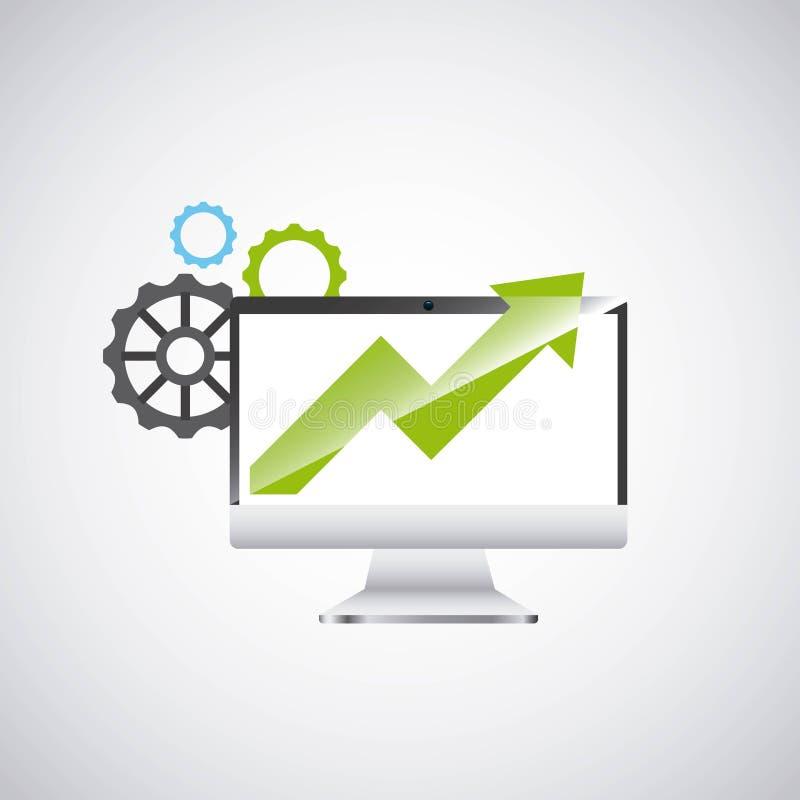 Symbol för datateknik för ekonomitillväxt skrivbords- vektor illustrationer