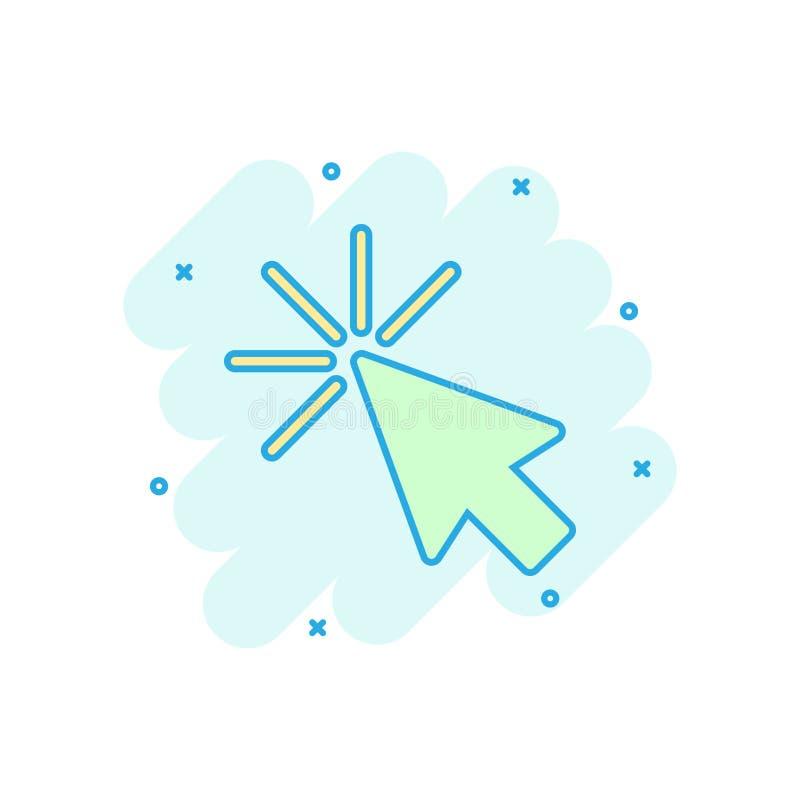 Symbol för datormusmarkör i komisk stil Pictogram för illustration för tecknad film för pilmarkörvektor Färgstänk för mussyfteaff stock illustrationer