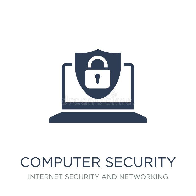 Symbol för datorsäkerhet Moderiktig plan ico för vektordatorsäkerhet stock illustrationer