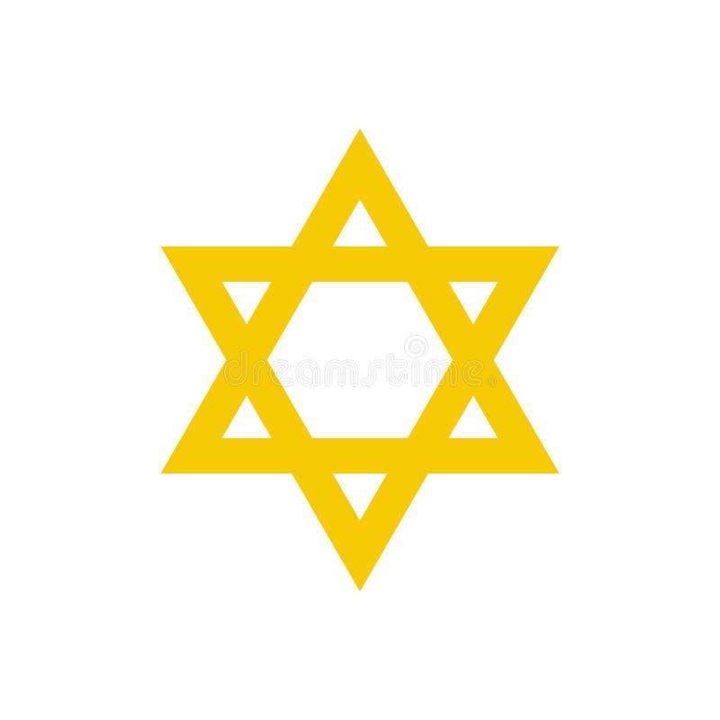 Symbol för David stjärnalägenhet vektor illustrationer